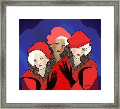 1391 - Three Chicks In Red 2017 Framed Print by Irmgard Schoendorf Welch