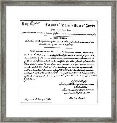 13th Amendment, 1865 Framed Print by Granger