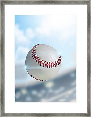 Ball Flying Through The Air Framed Print by Allan Swart