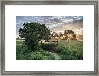 Beautiful Vibrant Summer Sunrise Over English Countryside Landsc Framed Print