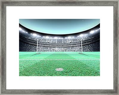 Floodlit Stadium Night Framed Print by Allan Swart