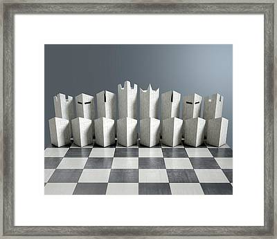 Modern Chess Set  Framed Print by Allan Swart