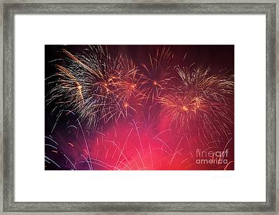 Spectacular Fireworks Show Light Up The Sky. New Year Celebration. Framed Print by Michal Bednarek