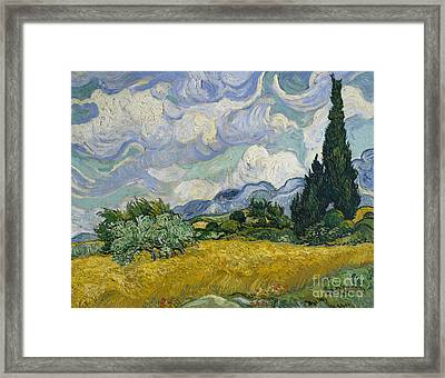 Wheat Field With Cypresses Framed Print by Vincent Van Gogh