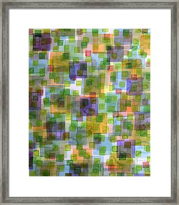 Large Squares Covered By Small Green Squares  Framed Print