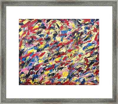 14k Gold Abstract Painting 48x60 Print Framed Print by Robert R Splashy Art Abstract Paintings