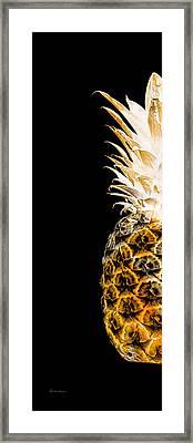 14ol Artistic Glowing Pineapple Digital Art Orange Framed Print