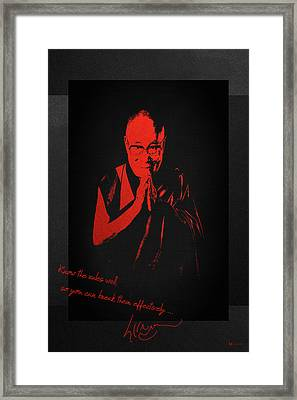 14th Dalai Lama Tenzin Gyatso - Know The Rules Well So You Can Break Them Effectively Framed Print by Serge Averbukh