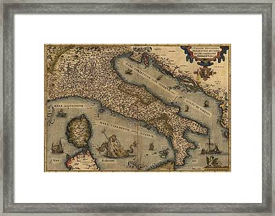 1570 Map Of Italy  From Abraham Framed Print by Everett