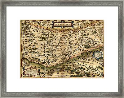 1570 Map Of Transylvania, Now Framed Print by Everett