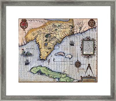1591, Exploration Era Map Of Florida Framed Print by Everett