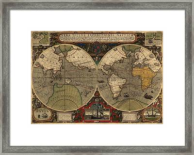 1595 World Map Shows Routes Framed Print by Everett