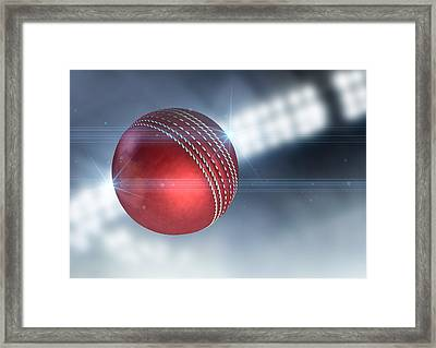 Ball Flying Through The Air Framed Print by Allan Swart