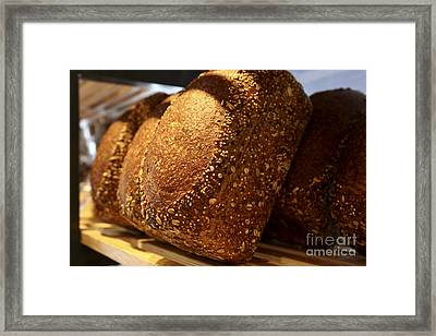Freshly Baked Loaves Of Bread At A Bakery Framed Print by Oren Shalev