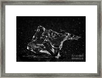 Ice Washed Up On Black Sand Beach At Jokulsarlon Iceland Framed Print