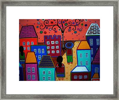 Mexican Town Framed Print by Pristine Cartera Turkus