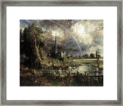 Salisbury Cathedral From The Meadows Framed Print