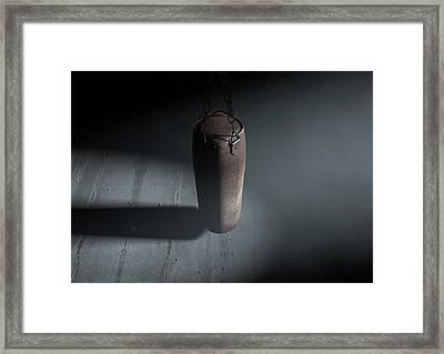 Vintage Leather Punching Bag Framed Print