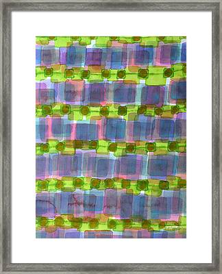 Purple Square Rows With Fluorescent Green Strips  Framed Print