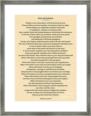 161- What Will Matter Framed Print by Joseph Keane