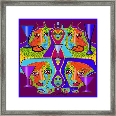 Framed Print featuring the digital art 1688 - Funny Faces 2017 by Irmgard Schoendorf Welch