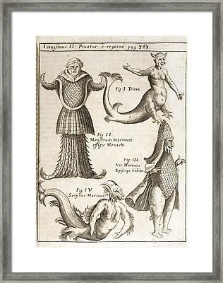 1662 Schott Sea Monsters And Mermaids Framed Print by Paul D Stewart