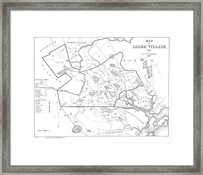 1692 Historical Map Of Salem Massachusetts Pulished In 1866 1800s Map Black And White Framed Print