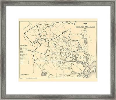 1692 Historical Map Of Salem Massachusetts Pulished In 1866 1800s Map Framed Print
