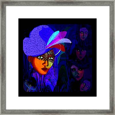 1696- Lady With A Blue Hat And Veil 2017 Framed Print by Irmgard Schoendorf Welch