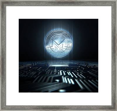 Cryptocurrency And Circuit Board Framed Print