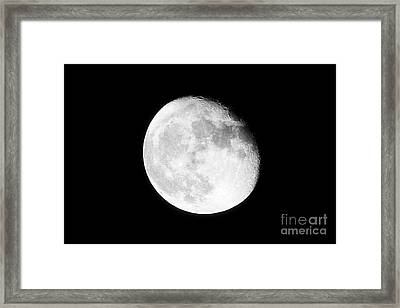 17 Day Old Waning Gibbous Grainy Visible Moon Framed Print
