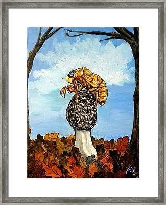 17 Year Cicada With Morel Framed Print