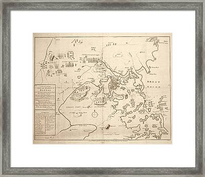 1700s City Planning Map Boston Ma Sepia Framed Print