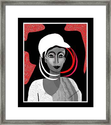 1704 - Interesting Lady With Odd White Hat 2017 Framed Print by Irmgard Schoendorf Welch