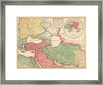 1712 French Map Of Southwest Asia Framed Print by Everett