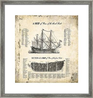 1728 Illustrated British War Ship Framed Print by Daniel Hagerman
