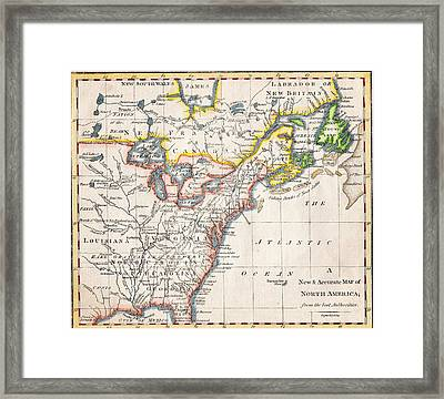 1775 A New And Accurate Map Of North America Framed Print