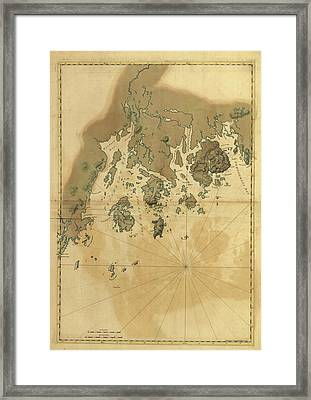 1776 Maine Coast Map Framed Print by Dan Sproul