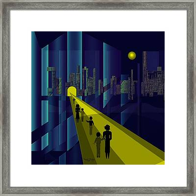 178 - Nightwalking To The Golden City    Framed Print by Irmgard Schoendorf Welch