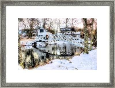 1780 Somesville Selectman's Building And Bridge  Framed Print by Elizabeth Dow