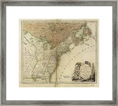 1783 United States Of America Map Framed Print by Dan Sproul