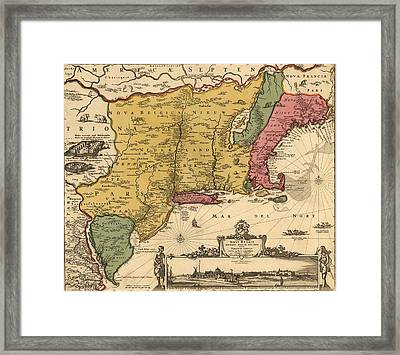 17th Century Map Of Land That Became Framed Print by Everett