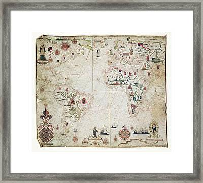 17th Century Nautical Map Of The Atlantic Framed Print by Library Of Congress