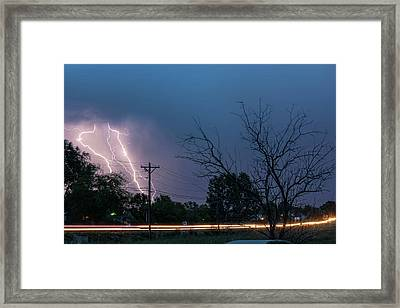 17th Street Neon Lights And Lightning Strikes Framed Print by James BO Insogna