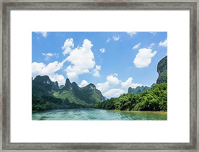 Lijiang River And Karst Mountains Scenery Framed Print