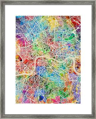 London England Street Map Framed Print