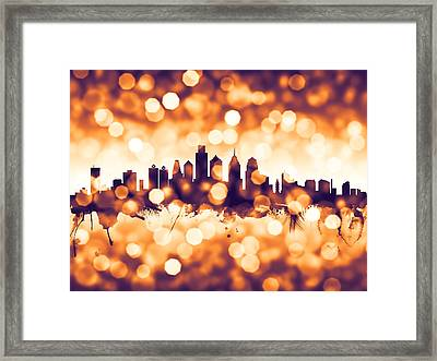 Philadelphia Pennsylvania Skyline Framed Print by Michael Tompsett