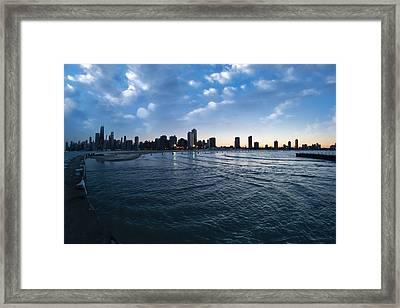 180 Degree View Of The Chicago Skyline Framed Print by Sven Brogren