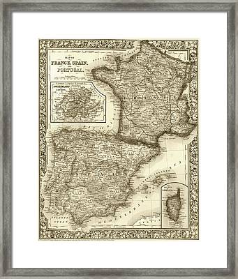 1800s France, Spain And Portugal County Map Sepia Framed Print by Toby McGuire