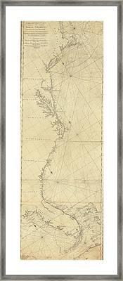 1807 North America Coastline Map Framed Print